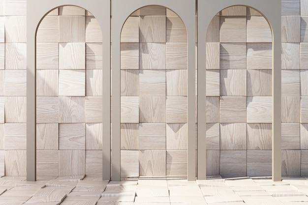 Arco de madeira com fundo de madeira e renderização 3d de piso