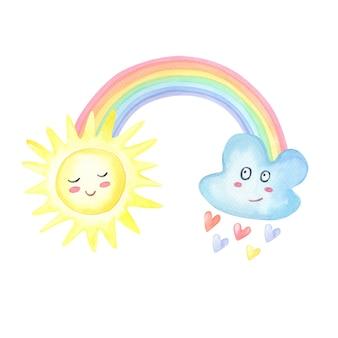 Arco-íris aquarela, nuvem com chuva de corações, sol no branco