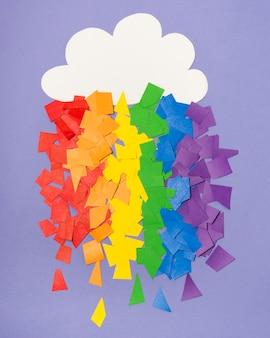 Arco-íris colorido do orgulho gay feito de adesivos