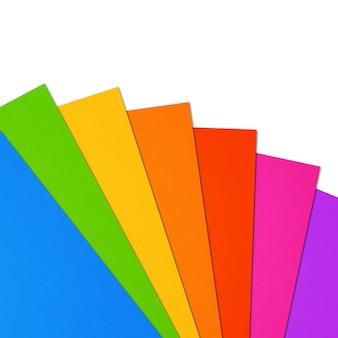 Arco-íris colorido em branco folha de papel a4 intervalo na superfície branca