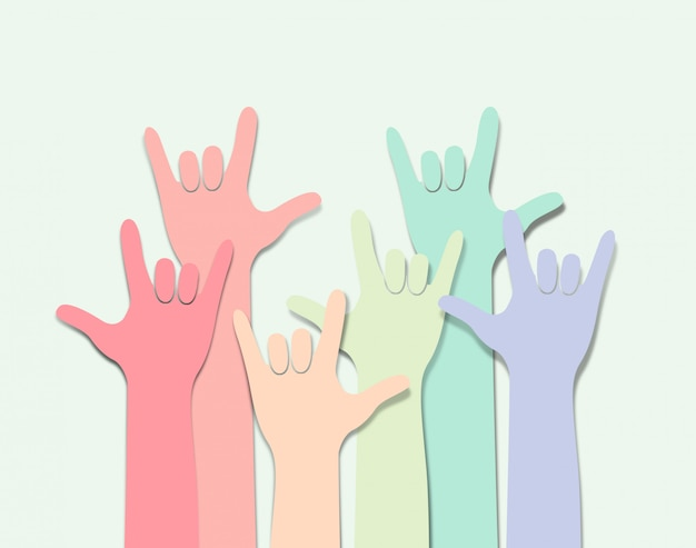 Arco-íris colorido mão com símbolo de amor. fundo lgbtq.