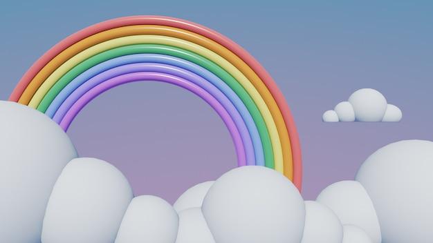 Arco-íris com fundo de nuvens