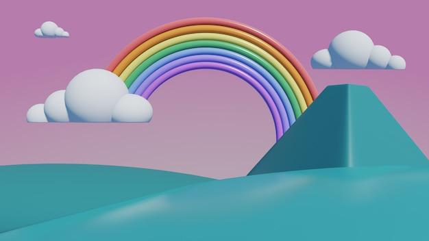 Arco-íris com montanhas