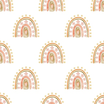 Arco-íris de aquarela padrão sem emenda no estilo boho em um fundo branco