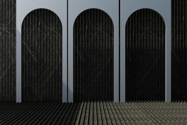 Arco preto com fundo de mármore escuro e renderização em 3d piso