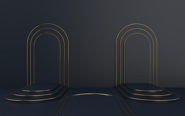 Arco preto com pódio, portal mínimo, renderização em 3d, cena com formas geométricas, fundo abstrato mínimo, fundo preto, moldura redonda de ouro