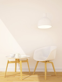 Área de biblioteca ou sala de jantar na sala livinig - renderização em 3d