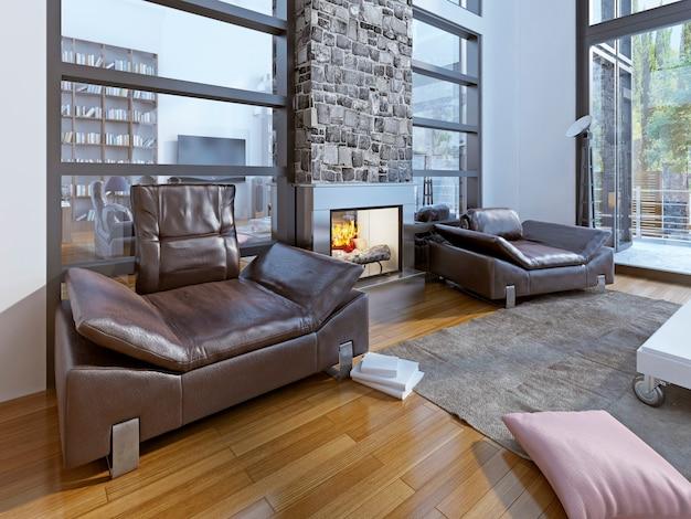 Área de estar aconchegante em uma casa moderna.