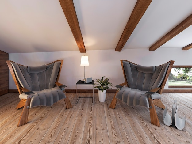 Área de estar com duas cadeiras confortáveis com abajur e lareira