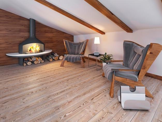 Área de estar confortável das duas cadeiras junto à lareira no sótão em estilo loft