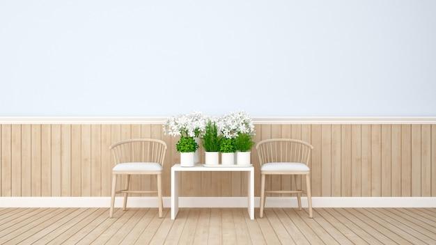 Área de estar e flor em casa ou apartamento - renderização em 3d