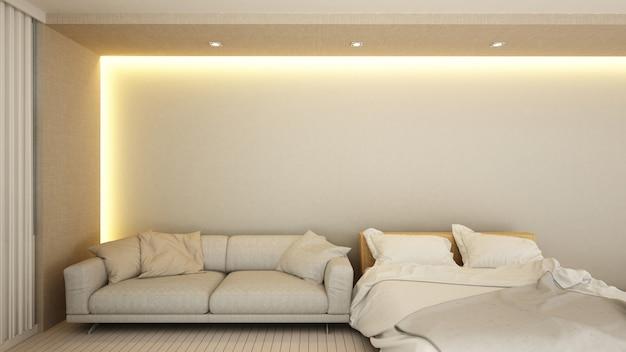 Área de estar e quarto no hotel ou apartamento - renderização em 3d