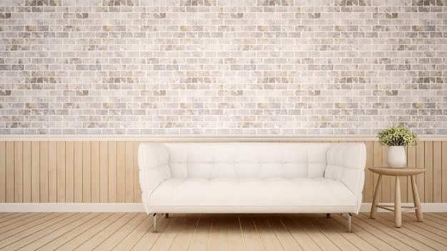Área de estar em apartamento ou café - renderização em 3d