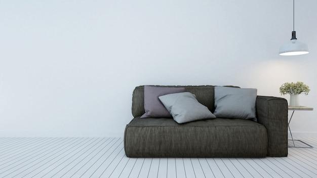 Área de estar em apartamento ou hotel - renderização em 3d
