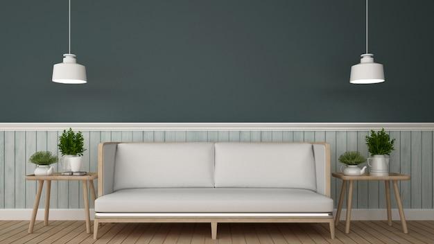 Área de estar em café ou lounge - renderização em 3d