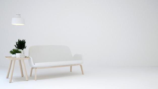 Área de estar em tom branco e branco blackground - renderização em 3d