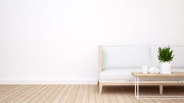 Área de estar no hotel ou apartamento - 3d rendering