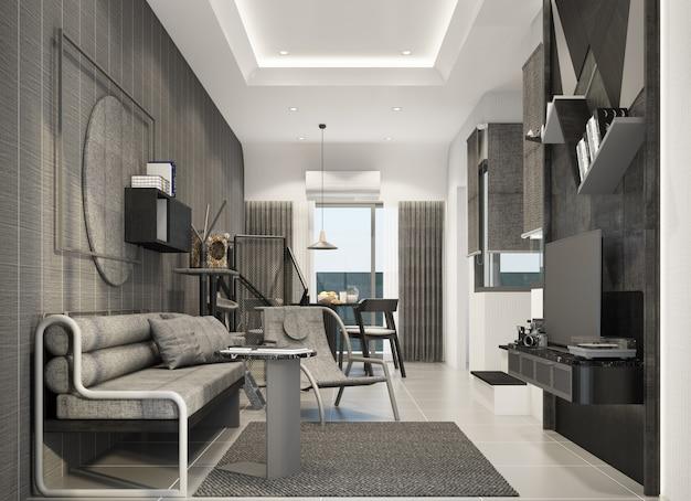 Área de estar no interior de uma casa geminada, estilo natural moderno, renderização em 3d