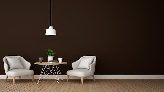 Área de estar no salão ou café - renderização em 3d