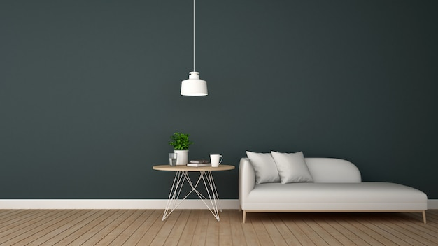 Área de estar no salão ou loja de café - renderização 3d