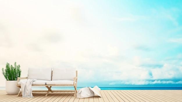 Área de estar no terraço com vista para o mar - renderização em 3d