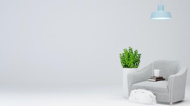 Área de estar ou área de relaxamento no fundo branco - renderização em 3d
