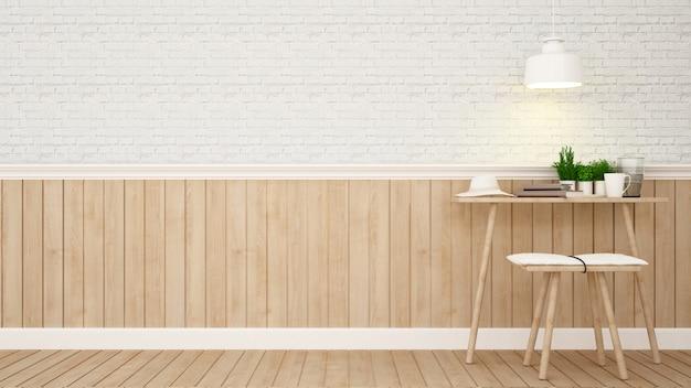 Área de estar ou área de trabalho em casa - renderização em 3d