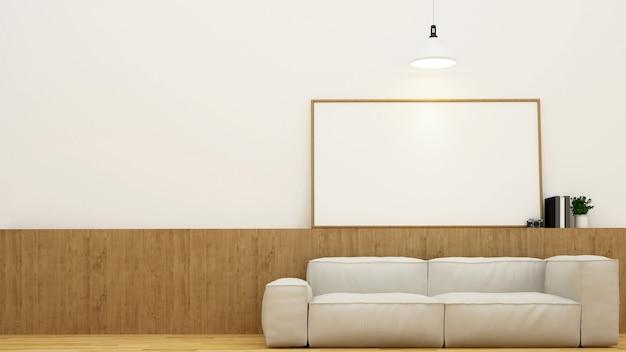 Área de estar ou café e moldura para obras de arte - renderização em 3d