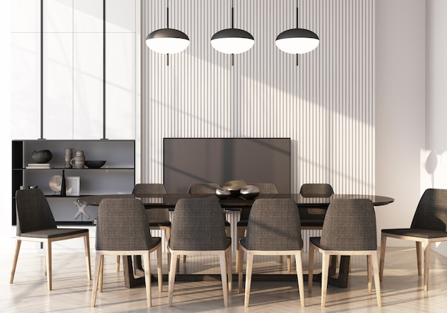 Área de jantar com mesa e cadeira de parede decorar embutida no piso de madeira. renderização 3d