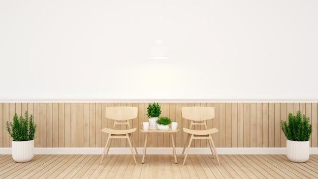 Área de jantar e parede decoram em cafeteria ou restaurante