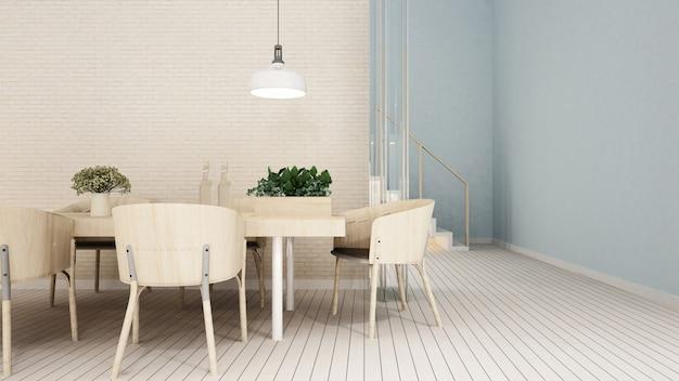 Área de jantar em apartamento ou condomínio - renderização 3d