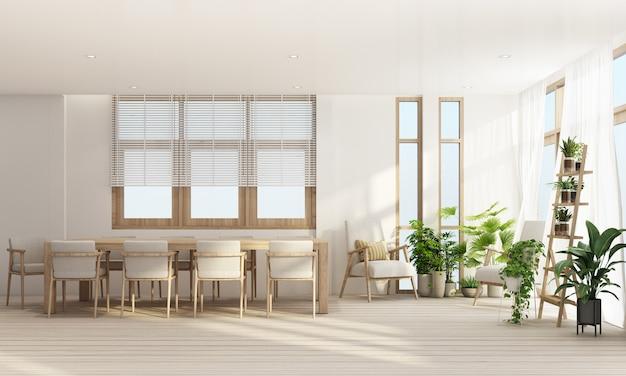 Área de jantar em estilo contemporâneo moderno com moldura de janela de madeira e transparente com tons de móveis cinza, renderização em 3d