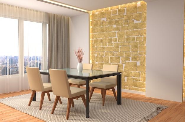 Área de jantar interior. ilustração 3d