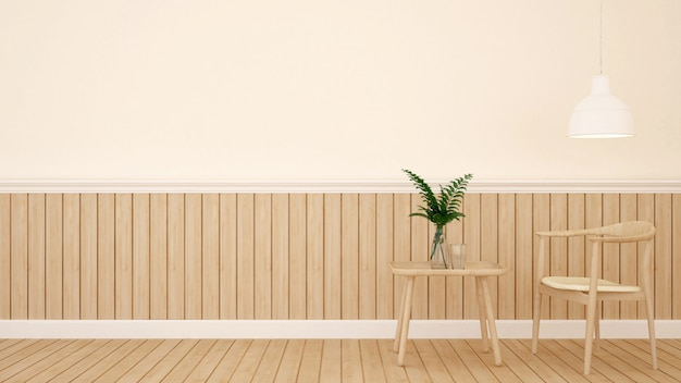 Área de jantar no café ou restaurante - renderização em 3d