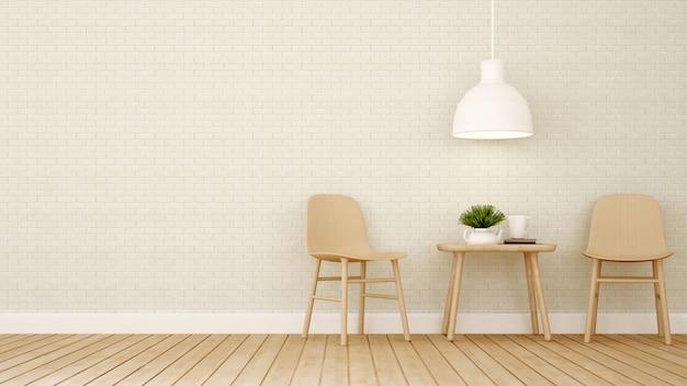 Área de jantar no restaurante ou café - renderização em 3d