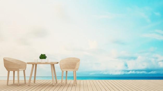Área de jantar no terraço vista para o mar - renderização em 3d