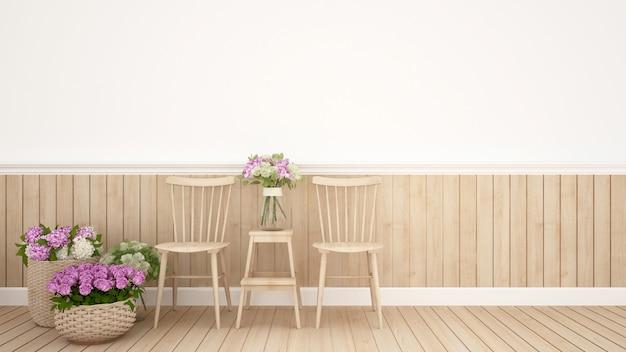 Área de refeições na flor de decoração de restaurante ou cafeteria.