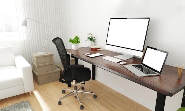 Área de trabalho do escritório em casa