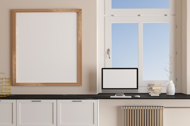Área de trabalho do interior da sala com tela em branco no local de trabalho e quadro em branco d render