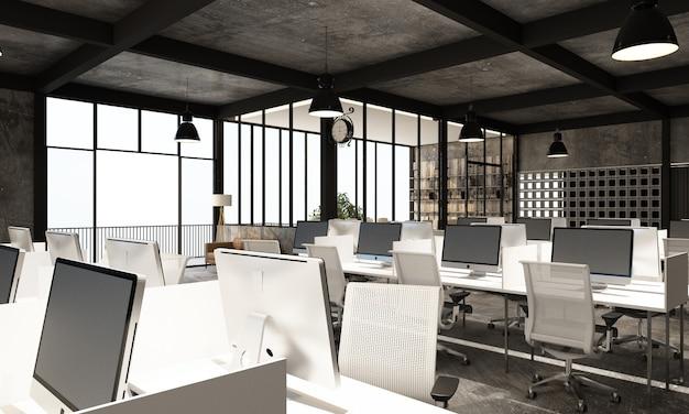 Área de trabalho em escritório moderno com piso de concreto em loft industrial