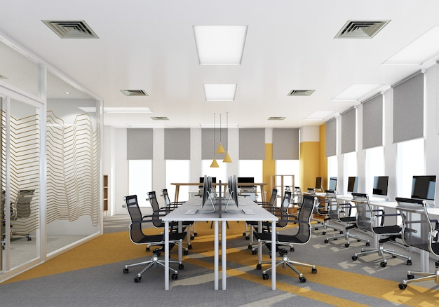 Área de trabalho em escritório moderno com piso em carpete e sala de reuniões nas cores amarelo e cinza. renderização 3d interior