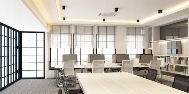 Área de trabalho em escritório moderno com piso em carpete e sala de reuniões