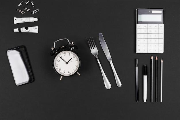 Área de trabalho em tempo de pausa isolado no preto
