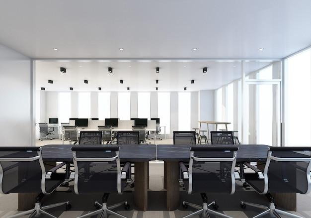 Área de trabalho em um escritório moderno com piso em carpete e renderização em 3d no interior da sala de reuniões