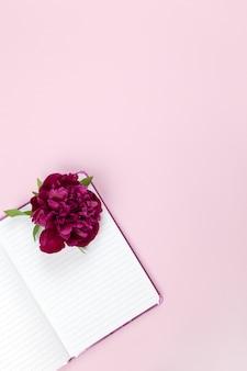 Área de trabalho feminina, flor de peônia no bloco de notas aberto, em fundo rosa pastel.