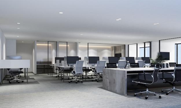 Área de trabalho no escritório moderno com piso em carpete e sala de reunião renderização em 3d interior