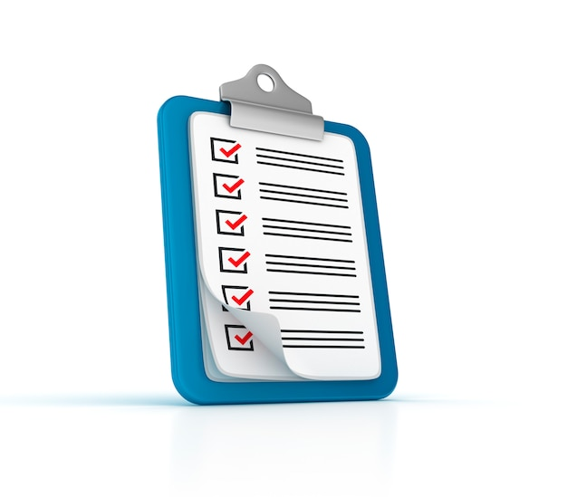 Área de transferência da lista de verificação 3d