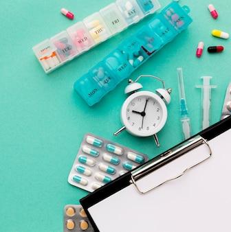 Área de transferência de close-up com comprimidos