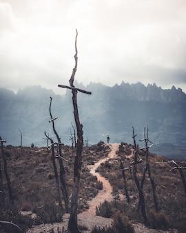 Área deserta coberta com grama seca, montanhas e cruzes de madeira com um homem em uma colina