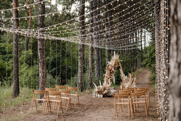 Área para cerimônia de casamento com flores secas em um prado em uma floresta de pinheiros castanhos